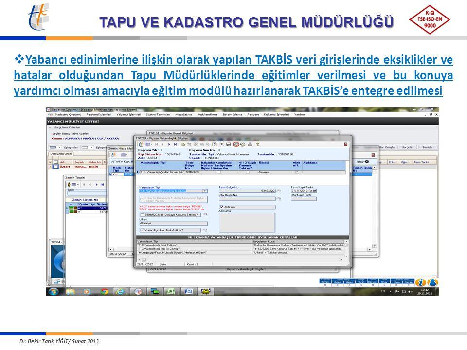 TAPU VE KADASTRO GENEL MÜDÜRLÜĞÜ  Yabancı edinimlerine ilişkin olarak yapılan TAKBİS veri girişlerinde eksiklikler ve hatalar olduğundan Tapu Müdürlü