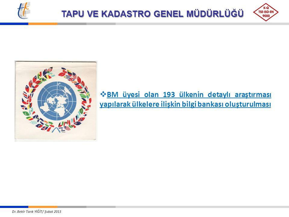 TAPU VE KADASTRO GENEL MÜDÜRLÜĞÜ  BM üyesi olan 193 ülkenin detaylı araştırması yapılarak ülkelere ilişkin bilgi bankası oluşturulması Dr. Bekir Tarı