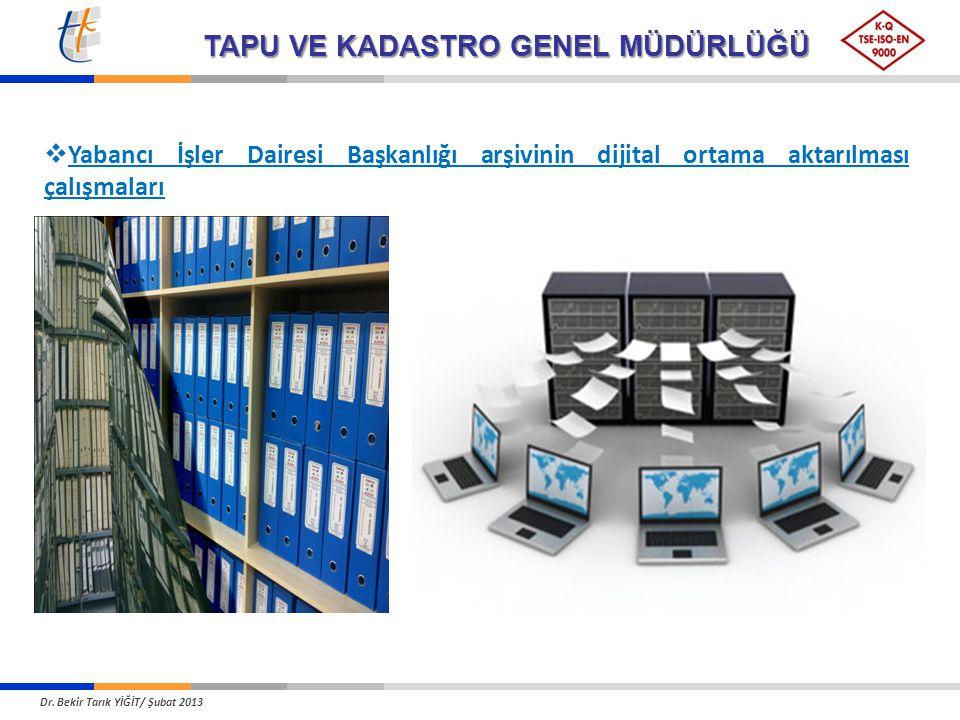 TAPU VE KADASTRO GENEL MÜDÜRLÜĞÜ  Yabancı İşler Dairesi Başkanlığı arşivinin dijital ortama aktarılması çalışmaları Dr. Bekir Tarık YİĞİT/ Şubat 2013