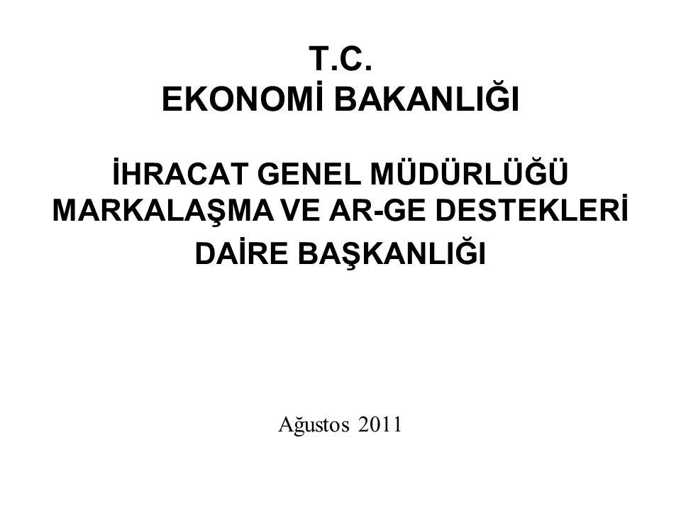 T.C. EKONOMİ BAKANLIĞI İHRACAT GENEL MÜDÜRLÜĞÜ MARKALAŞMA VE AR-GE DESTEKLERİ DAİRE BAŞKANLIĞI Ağustos 2011