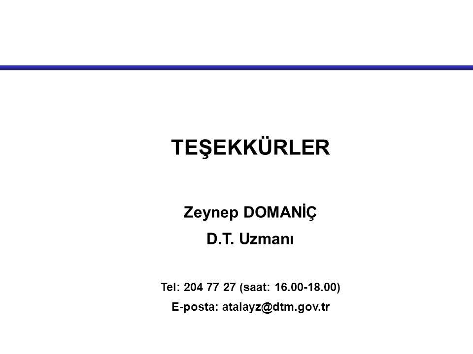 TEŞEKKÜRLER Zeynep DOMANİÇ D.T. Uzmanı Tel: 204 77 27 (saat: 16.00-18.00) E-posta: atalayz@dtm.gov.tr