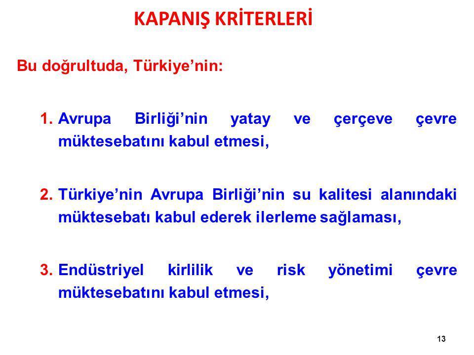 Bu doğrultuda, Türkiye'nin: 1.Avrupa Birliği'nin yatay ve çerçeve çevre müktesebatını kabul etmesi, 2.Türkiye'nin Avrupa Birliği'nin su kalitesi alanı