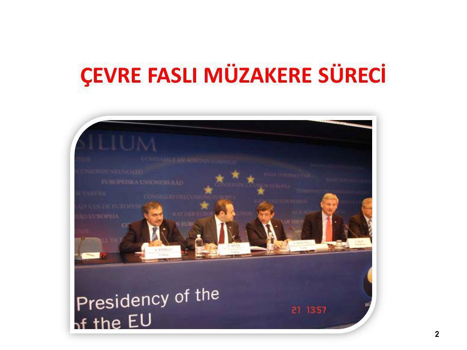 Bu doğrultuda, Türkiye'nin: 1.Avrupa Birliği'nin yatay ve çerçeve çevre müktesebatını kabul etmesi, 2.Türkiye'nin Avrupa Birliği'nin su kalitesi alanındaki müktesebatı kabul ederek ilerleme sağlaması, 3.Endüstriyel kirlilik ve risk yönetimi çevre müktesebatını kabul etmesi, KAPANIŞ KRİTERLERİ 13