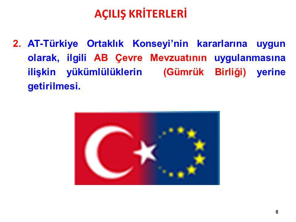 6 2.AT-Türkiye Ortaklık Konseyi'nin kararlarına uygun olarak, ilgili AB Çevre Mevzuatının uygulanmasına ilişkin yükümlülüklerin (Gümrük Birliği) yerin