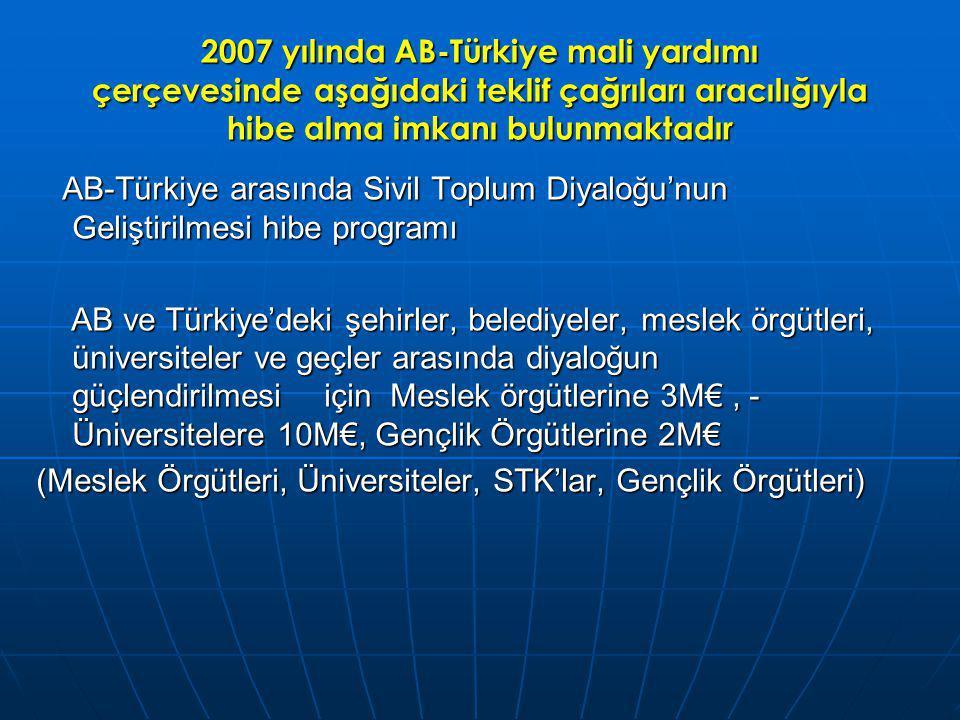 2007 yılında AB-Türkiye mali yardımı çerçevesinde aşağıdaki teklif çağrıları aracılığıyla hibe alma imkanı bulunmaktadır AB-Türkiye arasında Sivil Toplum Diyaloğu'nun Geliştirilmesi hibe programı AB-Türkiye arasında Sivil Toplum Diyaloğu'nun Geliştirilmesi hibe programı AB ve Türkiye'deki şehirler, belediyeler, meslek örgütleri, üniversiteler ve geçler arasında diyaloğun güçlendirilmesiiçin Meslek örgütlerine 3M€, - Üniversitelere 10M€, Gençlik Örgütlerine 2M€ AB ve Türkiye'deki şehirler, belediyeler, meslek örgütleri, üniversiteler ve geçler arasında diyaloğun güçlendirilmesiiçin Meslek örgütlerine 3M€, - Üniversitelere 10M€, Gençlik Örgütlerine 2M€ (Meslek Örgütleri, Üniversiteler, STK'lar, Gençlik Örgütleri)