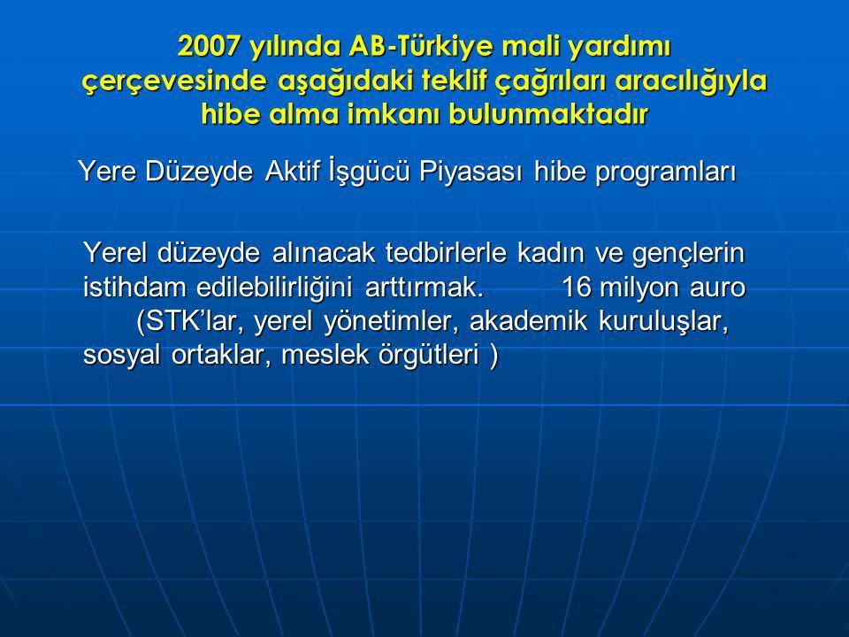 2007 yılında AB-Türkiye mali yardımı çerçevesinde aşağıdaki teklif çağrıları aracılığıyla hibe alma imkanı bulunmaktadır Yere Düzeyde Aktif İşgücü Piyasası hibe programları Yere Düzeyde Aktif İşgücü Piyasası hibe programları Yerel düzeyde alınacak tedbirlerle kadın ve gençlerin istihdam edilebilirliğini arttırmak.