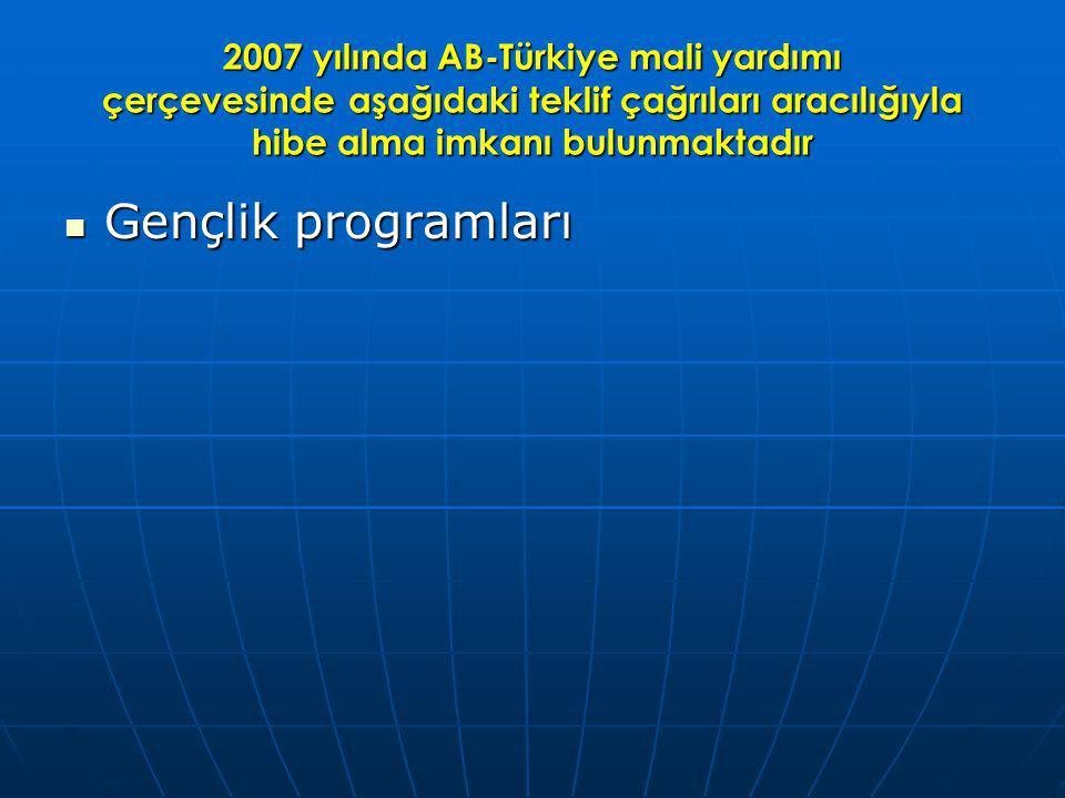 2007 yılında AB-Türkiye mali yardımı çerçevesinde aşağıdaki teklif çağrıları aracılığıyla hibe alma imkanı bulunmaktadır Gençlik programları Gençlik programları