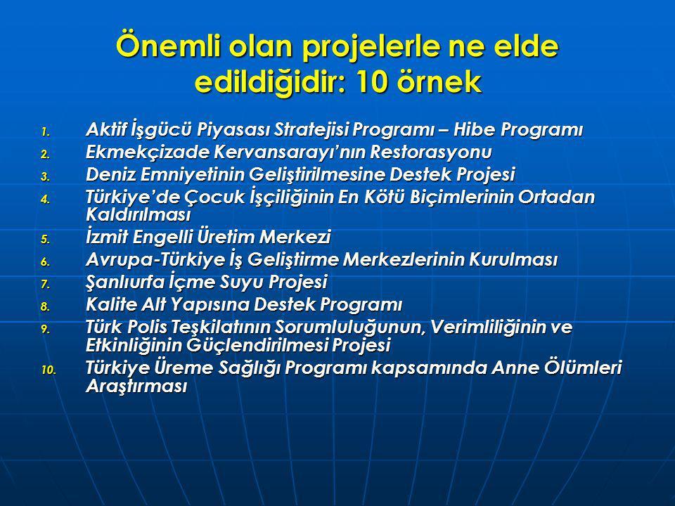 Önemli olan projelerle ne elde edildiğidir: 10 örnek 1. Aktif İşgücü Piyasası Stratejisi Programı – Hibe Programı 2. Ekmekçizade Kervansarayı'nın Rest
