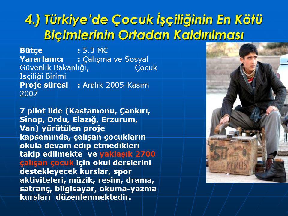 4.) Türkiye'de Çocuk İşçiliğinin En Kötü Biçimlerinin Ortadan Kaldırılması Bütçe: 5.3 M€ Yararlanıcı: Çalışma ve Sosyal Güvenlik Bakanlığı, Çocuk İşçiliği Birimi Proje süresi: Aralık 2005-Kasım 2007 7 pilot ilde (Kastamonu, Çankırı, Sinop, Ordu, Elazığ, Erzurum, Van) yürütülen proje kapsamında, çalışan çocukların okula devam edip etmedikleri takip edilmekte ve yaklaşık 2700 çalışan çocuk için okul derslerini destekleyecek kurslar, spor aktiviteleri, müzik, resim, drama, satranç, bilgisayar, okuma-yazma kursları düzenlenmektedir.