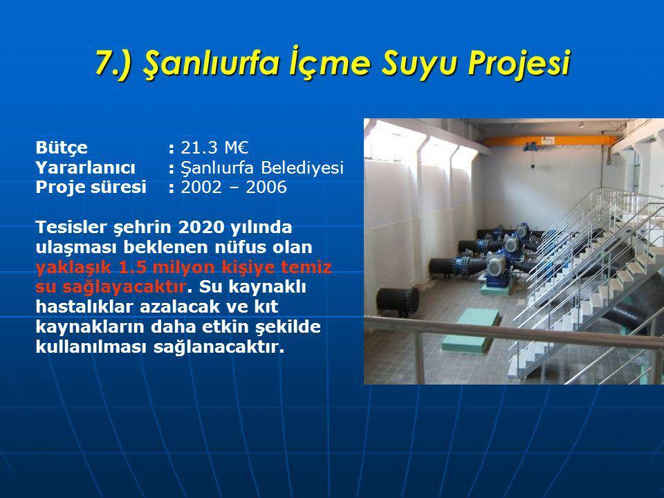 7.) Şanlıurfa İçme Suyu Projesi Bütçe : 21.3 M€ Yararlanıcı : Şanlıurfa Belediyesi Proje süresi: 2002 – 2006 Tesisler şehrin 2020 yılında ulaşması beklenen nüfus olan yaklaşık 1.5 milyon kişiye temiz su sağlayacaktır.