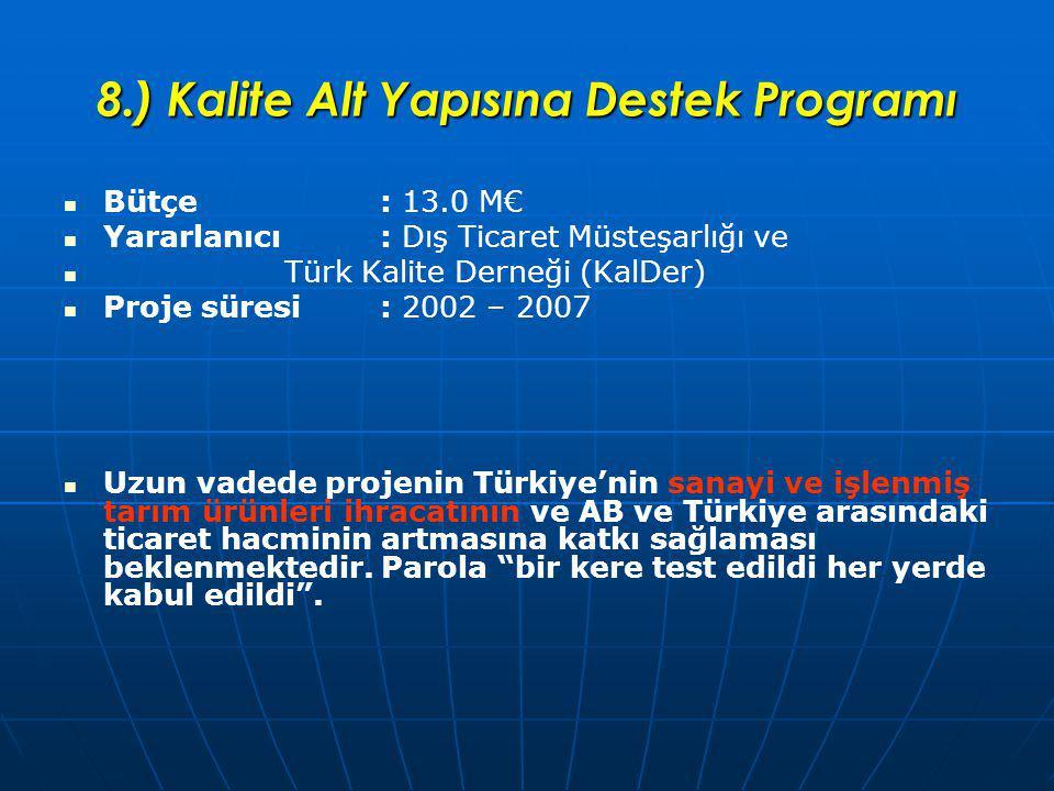 8.) Kalite Alt Yapısına Destek Programı Bütçe: 13.0 M€ Yararlanıcı: Dış Ticaret Müsteşarlığı ve Türk Kalite Derneği (KalDer) Proje süresi: 2002 – 2007 Uzun vadede projenin Türkiye'nin sanayi ve işlenmiş tarım ürünleri ihracatının ve AB ve Türkiye arasındaki ticaret hacminin artmasına katkı sağlaması beklenmektedir.