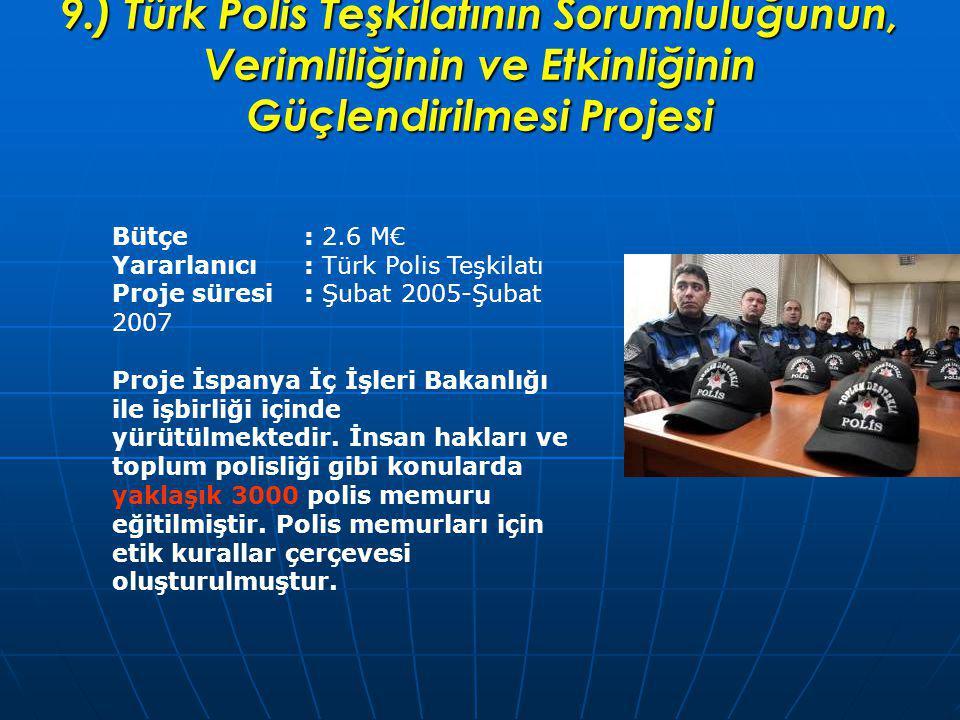 9.) Türk Polis Teşkilatının Sorumluluğunun, Verimliliğinin ve Etkinliğinin Güçlendirilmesi Projesi Bütçe: 2.6 M€ Yararlanıcı: Türk Polis Teşkilatı Proje süresi : Şubat 2005-Şubat 2007 Proje İspanya İç İşleri Bakanlığı ile işbirliği içinde yürütülmektedir.
