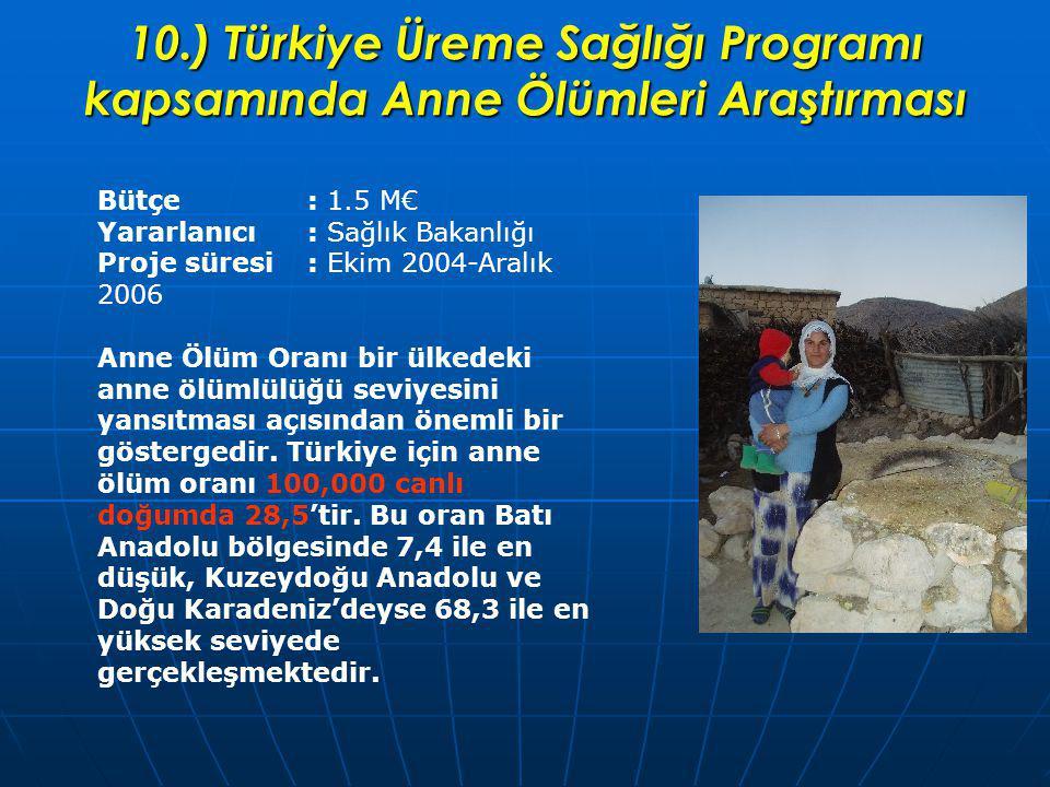 10.) Türkiye Üreme Sağlığı Programı kapsamında Anne Ölümleri Araştırması Bütçe: 1.5 M€ Yararlanıcı : Sağlık Bakanlığı Proje süresi: Ekim 2004-Aralık 2006 Anne Ölüm Oranı bir ülkedeki anne ölümlülüğü seviyesini yansıtması açısından önemli bir göstergedir.