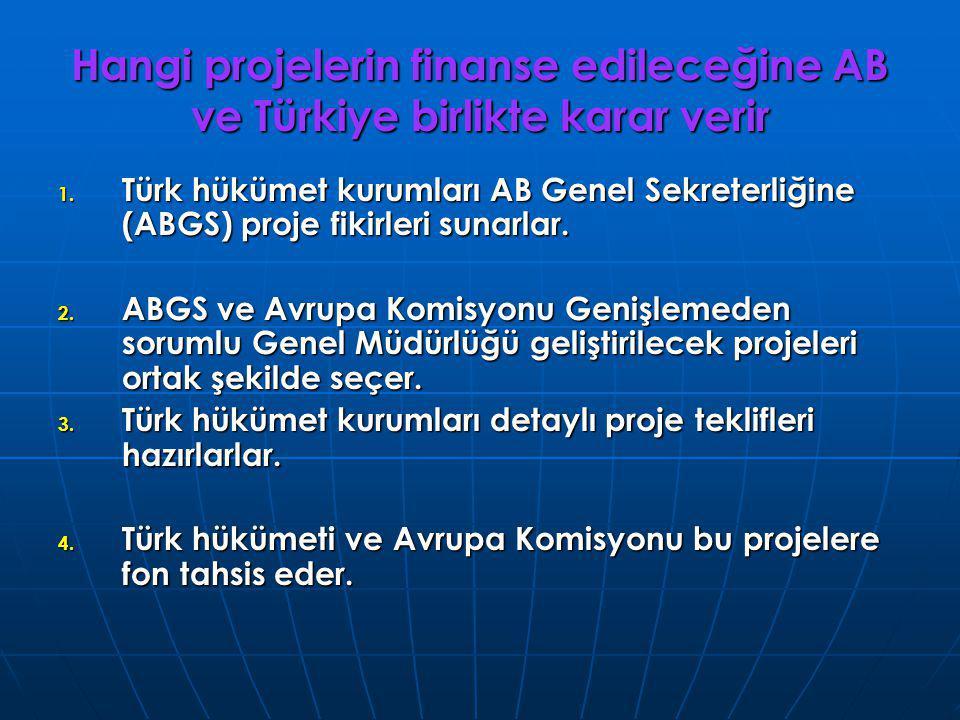 Hangi projelerin finanse edileceğine AB ve Türkiye birlikte karar verir 1. Türk hükümet kurumları AB Genel Sekreterliğine (ABGS) proje fikirleri sunar