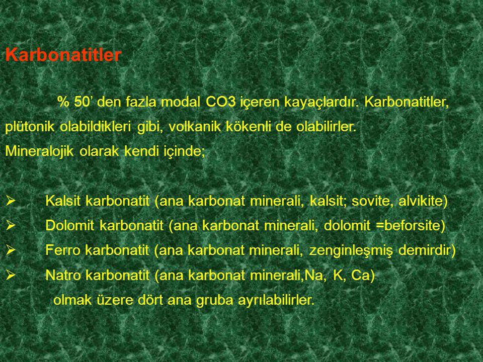 Karbonatitler % 50' den fazla modal CO3 içeren kayaçlardır.