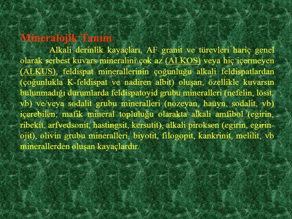 Mineralojik Tanım Alkali derinlik kayaçları, AF granit ve türevleri hariç genel olarak serbest kuvars mineralini çok az (ALKOS) veya hiç içermeyen (ALKUS), feldispat minerallerinin çoğunluğu alkali feldispatlardan (çoğunlukla K-feldispat ve nadiren albit) oluşan, özellikle kuvarsın bulunmadığı durumlarda feldispatoyid grubu mineralleri (nefelin, lösit, vb) ve/veya sodalit grubu mineralleri (nozeyan, haüyn, sodalit, vb) içerebilen; mafik mineral topluluğu olarakta alkali amfibol (egirin, ribekit, arfvedsonit, hastingsit, kersutit), alkali piroksen (egirin, egirin- ojit), olivin grubu mineralleri, biyotit, filogopit, kankrinit, melilit, vb minerallerden oluşan kayaçlardır.