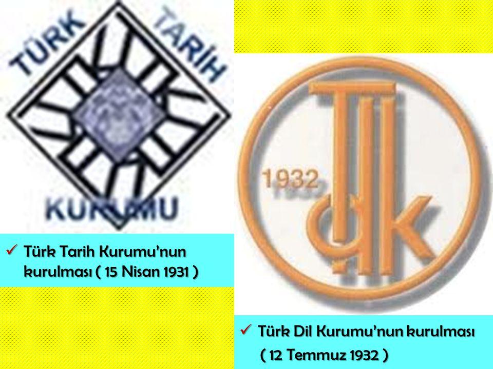 Türk Tarih Kurumu'nun kurulması ( 15 Nisan 1931 ) Türk Tarih Kurumu'nun kurulması ( 15 Nisan 1931 ) Türk Dil Kurumu'nun kurulması Türk Dil Kurumu'nun