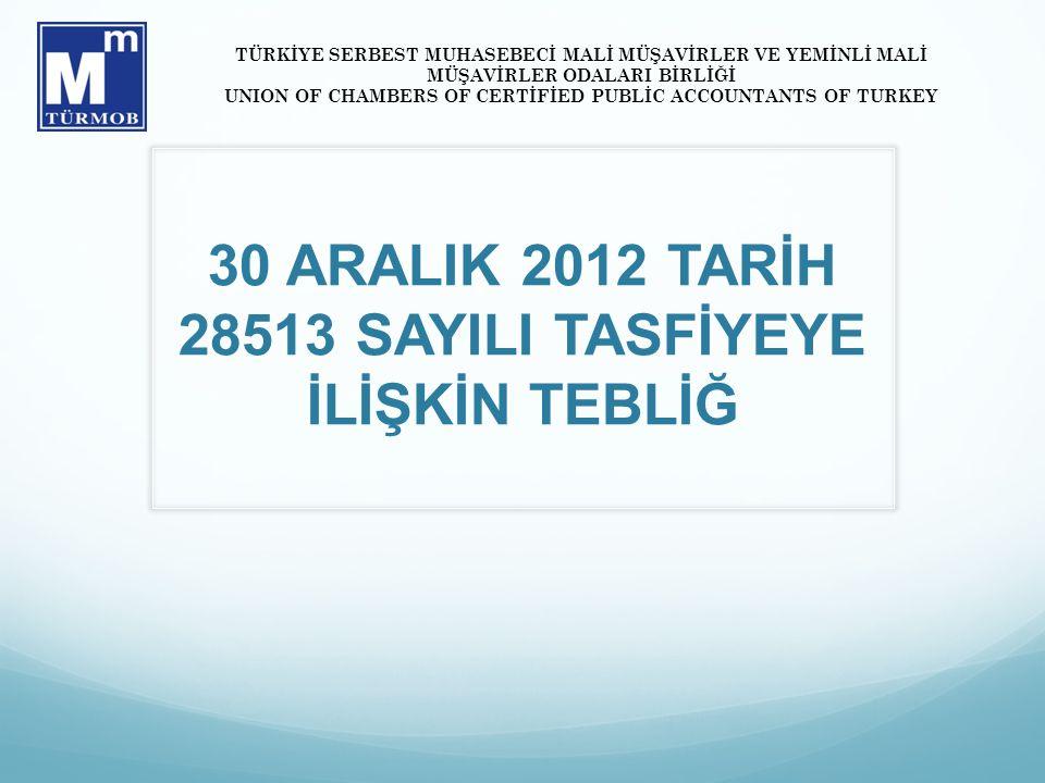 30 ARALIK 2012 TARİH 28513 SAYILI TASFİYEYE İLİŞKİN TEBLİĞ TÜRKİYE SERBEST MUHASEBECİ MALİ MÜŞAVİRLER VE YEMİNLİ MALİ MÜŞAVİRLER ODALARI BİRLİĞİ UNION OF CHAMBERS OF CERTİFİED PUBLİC ACCOUNTANTS OF TURKEY