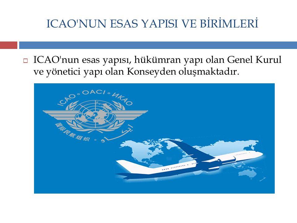ICAO'NUN ESAS YAPISI VE BİRİMLERİ  ICAO'nun esas yapısı, hükümran yapı olan Genel Kurul ve yönetici yapı olan Konseyden oluşmaktadır.