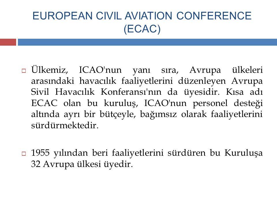 EUROPEAN CIVIL AVIATION CONFERENCE (ECAC)  Ülkemiz, ICAO'nun yanı sıra, Avrupa ülkeleri arasındaki havacılık faaliyetlerini düzenleyen Avrupa Sivil H