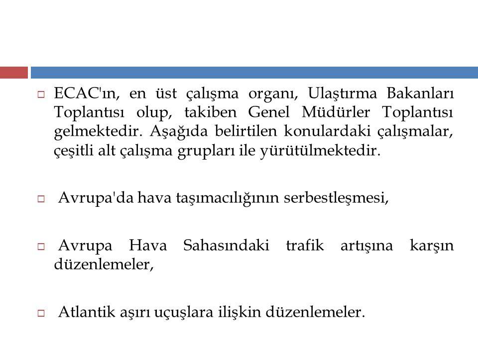  ECAC'ın, en üst çalışma organı, Ulaştırma Bakanları Toplantısı olup, takiben Genel Müdürler Toplantısı gelmektedir. Aşağıda belirtilen konulardaki ç