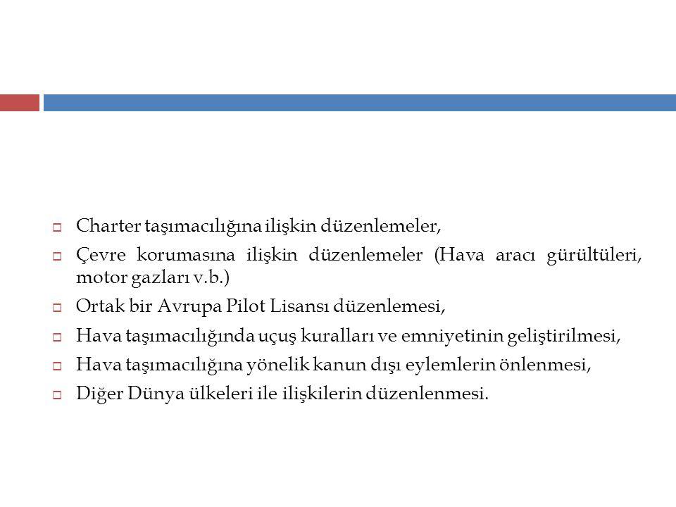 Charter taşımacılığına ilişkin düzenlemeler,  Çevre korumasına ilişkin düzenlemeler (Hava aracı gürültüleri, motor gazları v.b.)  Ortak bir Avrupa