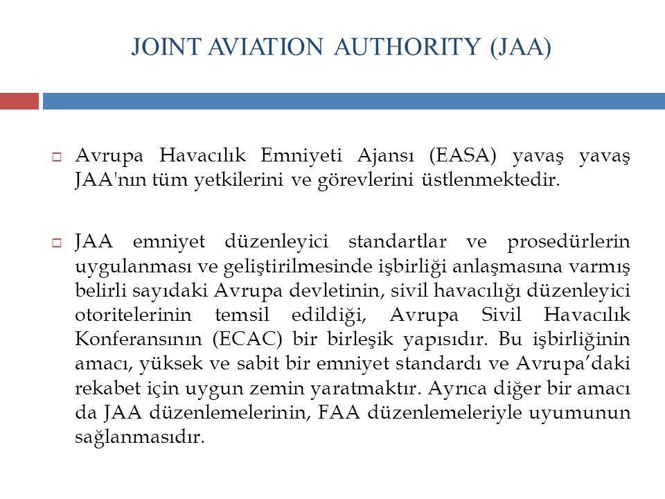 JOINT AVIATION AUTHORITY (JAA)  Avrupa Havacılık Emniyeti Ajansı (EASA) yavaş yavaş JAA'nın tüm yetkilerini ve görevlerini üstlenmektedir.  JAA emni