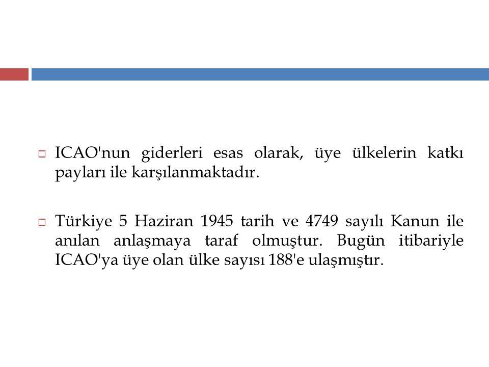  ICAO'nun giderleri esas olarak, üye ülkelerin katkı payları ile karşılanmaktadır.  Türkiye 5 Haziran 1945 tarih ve 4749 sayılı Kanun ile anılan anl