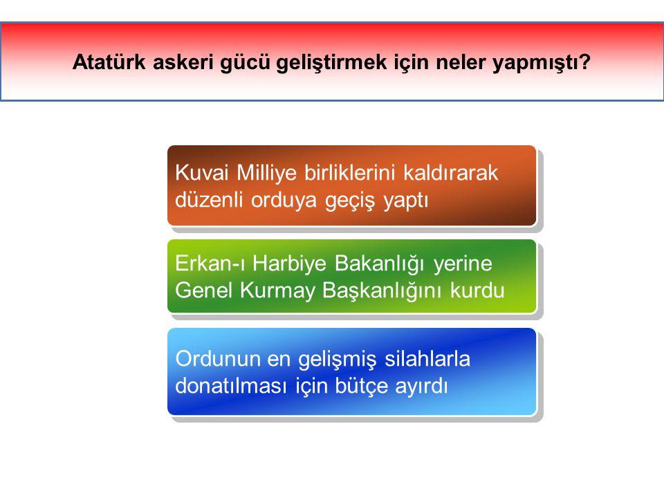 Atatürk askeri gücü geliştirmek için neler yapmıştı.