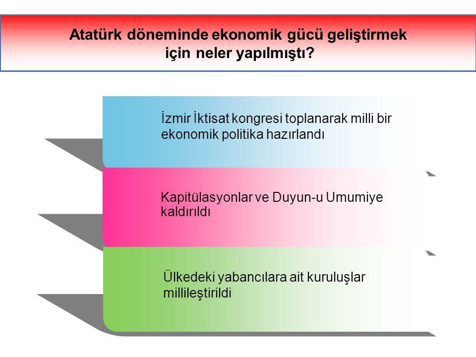 Beş yıllık kalkınma planlarının yapılması 1 Teşvik-i Sanayi Kanunu çıkarılması 2 İş Bankası Sümerbank ve Etibank'ın kurulması 3 Çeşitli fabrikaların kurulması 4 Yabancı işletmelerin satın alınması 5