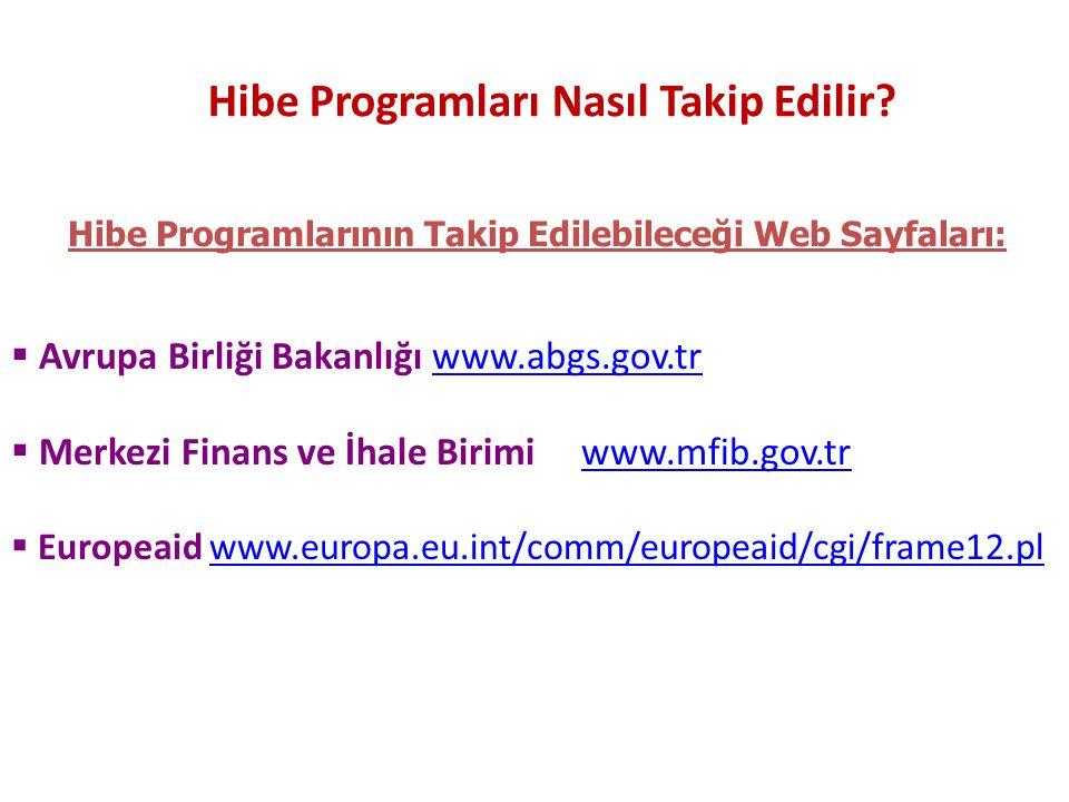 Hibe Programları Nasıl Takip Edilir?  Avrupa Birliği Bakanlığı www.abgs.gov.trwww.abgs.gov.tr  Merkezi Finans ve İhale Birimi www.mfib.gov.trwww.mfi