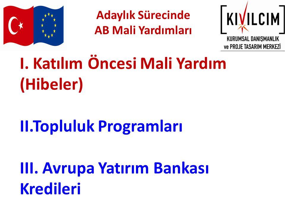 I.Katılım Öncesi Mali Yardım (Hibeler) II.Topluluk Programları III.