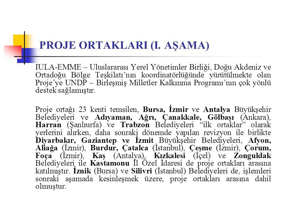 PROJE ORTAKLARI (I. AŞAMA) IULA-EMME – Uluslararası Yerel Yönetimler Birliği, Doğu Akdeniz ve Ortadoğu Bölge Teşkilatı'nın koordinatörlüğünde yürütülm