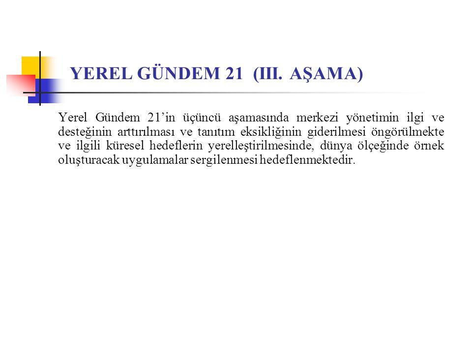 YEREL GÜNDEM 21 (III. AŞAMA) Yerel Gündem 21'in üçüncü aşamasında merkezi yönetimin ilgi ve desteğinin arttırılması ve tanıtım eksikliğinin giderilmes