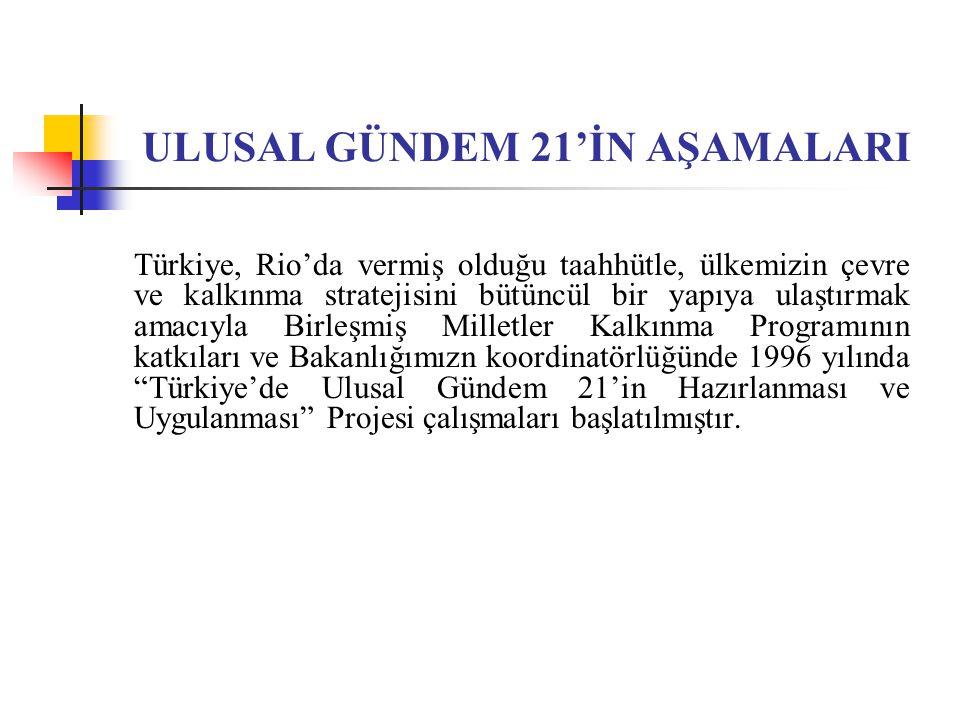 ULUSAL GÜNDEM 21'İN AŞAMALARI Türkiye, Rio'da vermiş olduğu taahhütle, ülkemizin çevre ve kalkınma stratejisini bütüncül bir yapıya ulaştırmak amacıyl