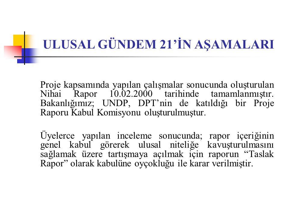 ULUSAL GÜNDEM 21'İN AŞAMALARI Proje kapsamında yapılan çalışmalar sonucunda oluşturulan Nihai Rapor 10.02.2000 tarihinde tamamlanmıştır. Bakanlığımız;
