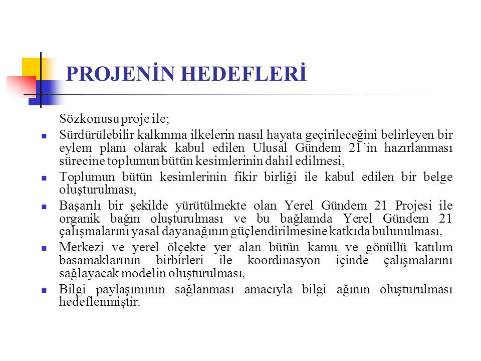 PROJENİN HEDEFLERİ Sözkonusu proje ile; Sürdürülebilir kalkınma ilkelerin nasıl hayata geçirileceğini belirleyen bir eylem planı olarak kabul edilen U