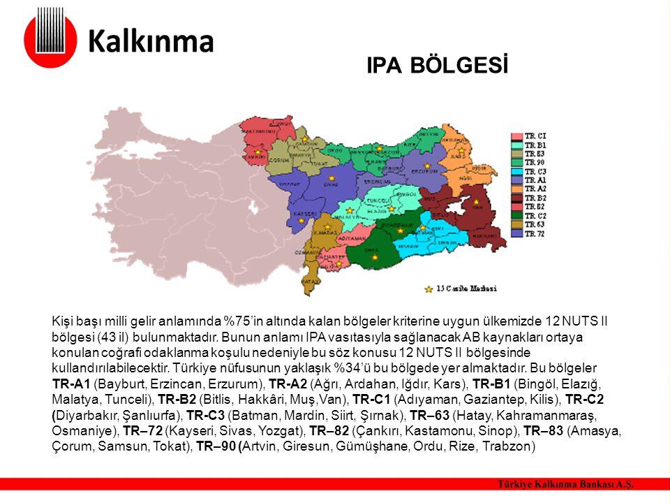 IPA BÖLGESİ Kişi başı milli gelir anlamında %75'in altında kalan bölgeler kriterine uygun ülkemizde 12 NUTS II bölgesi (43 il) bulunmaktadır. Bunun an