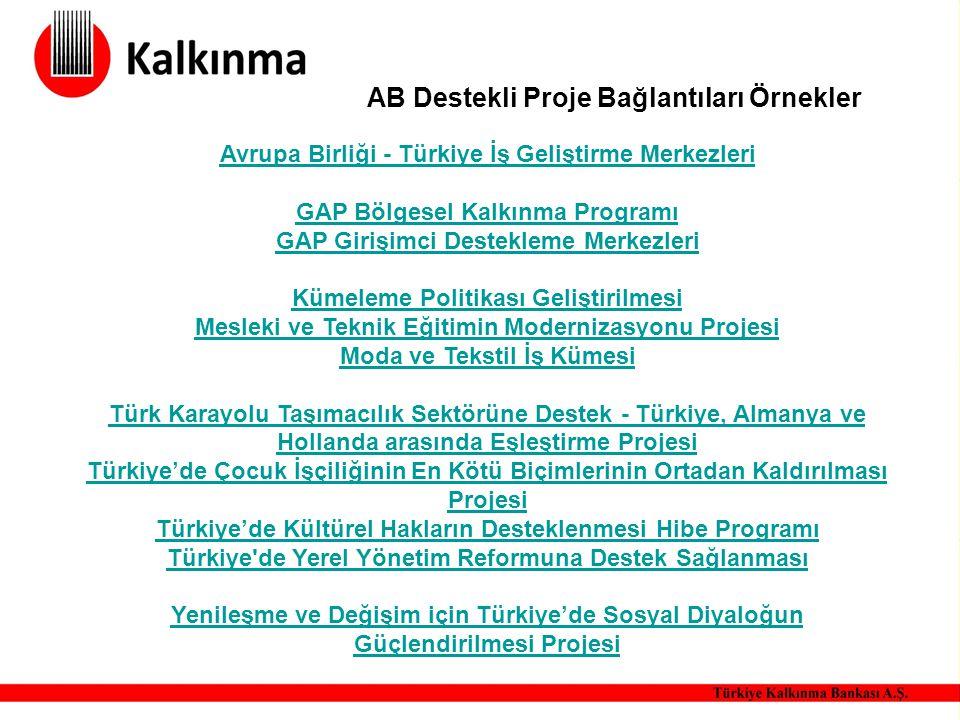 AB Destekli Proje Bağlantıları Örnekler Avrupa Birliği - Türkiye İş Geliştirme Merkezleri GAP Bölgesel Kalkınma Programı GAP Girişimci Destekleme Merk