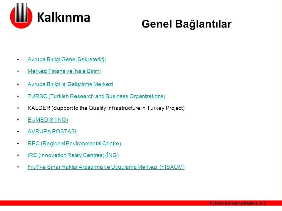 Genel Bağlantılar Avrupa Birliği Genel Sekreterliği Merkezi Finans ve İhale Birimi Avrupa Birliği İş Geliştirme Merkezi TURBO (Turkish Research and Bu