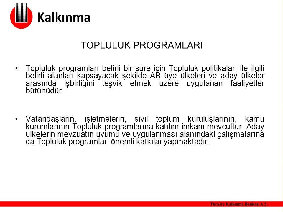 TOPLULUK PROGRAMLARI Topluluk programları belirli bir süre için Topluluk politikaları ile ilgili belirli alanları kapsayacak şekilde AB üye ülkeleri v