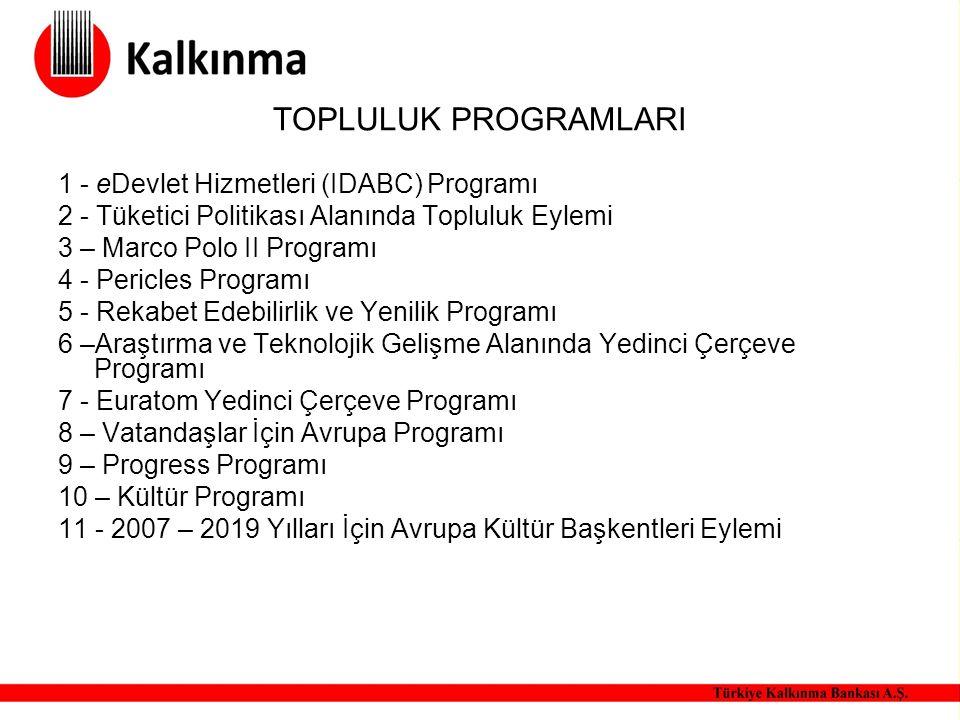 TOPLULUK PROGRAMLARI 1 - eDevlet Hizmetleri (IDABC) Programı 2 - Tüketici Politikası Alanında Topluluk Eylemi 3 – Marco Polo II Programı 4 - Pericles