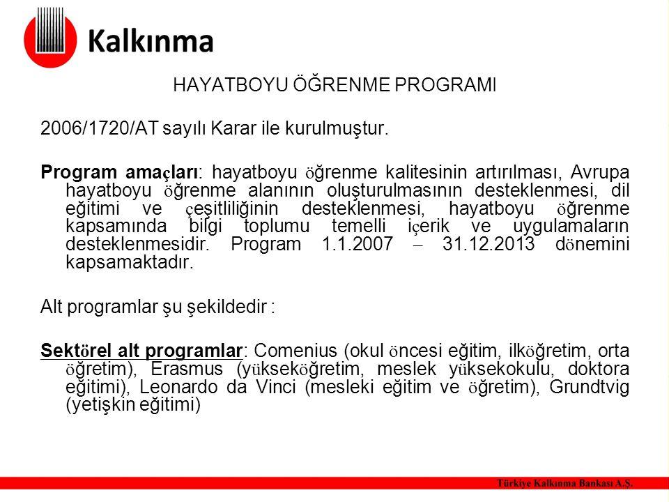 HAYATBOYU ÖĞRENME PROGRAMI 2006/1720/AT sayılı Karar ile kurulmuştur. Program ama ç ları: hayatboyu ö ğrenme kalitesinin artırılması, Avrupa hayatboyu