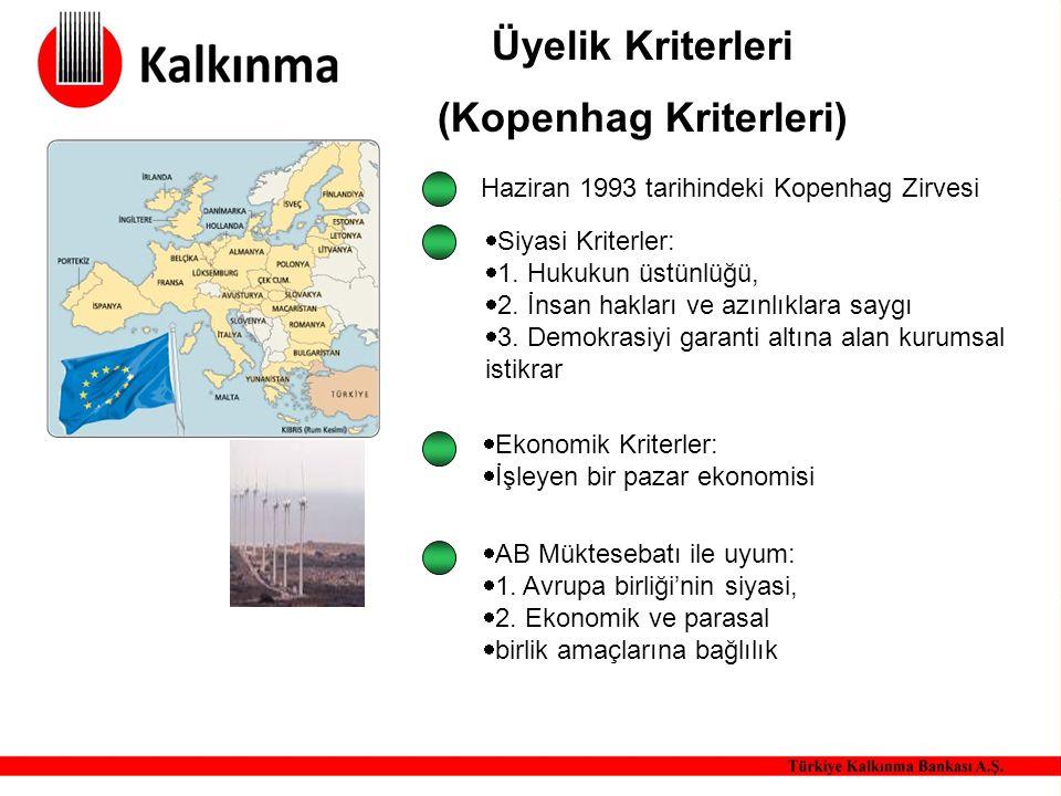 Üyelik Kriterleri (Kopenhag Kriterleri) Haziran 1993 tarihindeki Kopenhag Zirvesi  Siyasi Kriterler:  1. Hukukun üstünlüğü,  2. İnsan hakları ve az