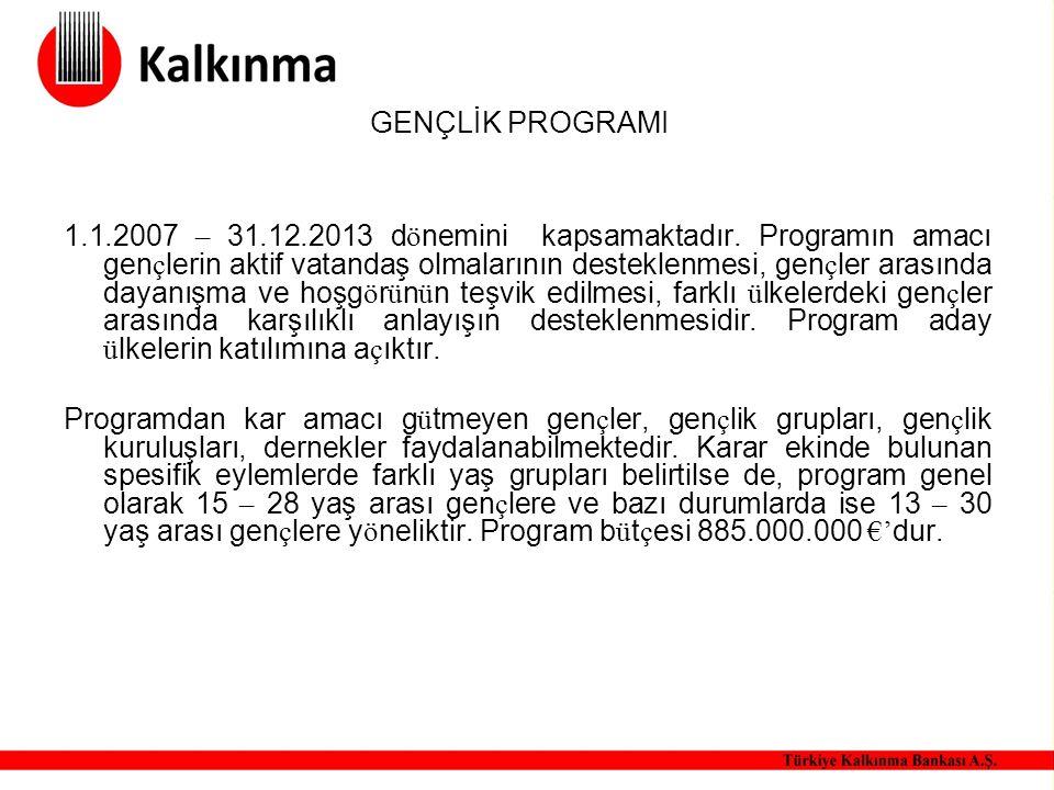 GENÇLİK PROGRAMI 1.1.2007 – 31.12.2013 d ö nemini kapsamaktadır. Programın amacı gen ç lerin aktif vatandaş olmalarının desteklenmesi, gen ç ler arası