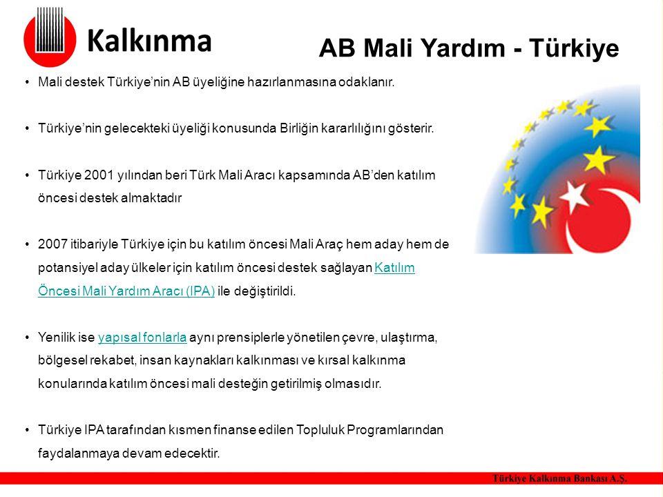 AB Mali Yardım - Türkiye Mali destek Türkiye'nin AB üyeliğine hazırlanmasına odaklanır. Türkiye'nin gelecekteki üyeliği konusunda Birliğin kararlılığı