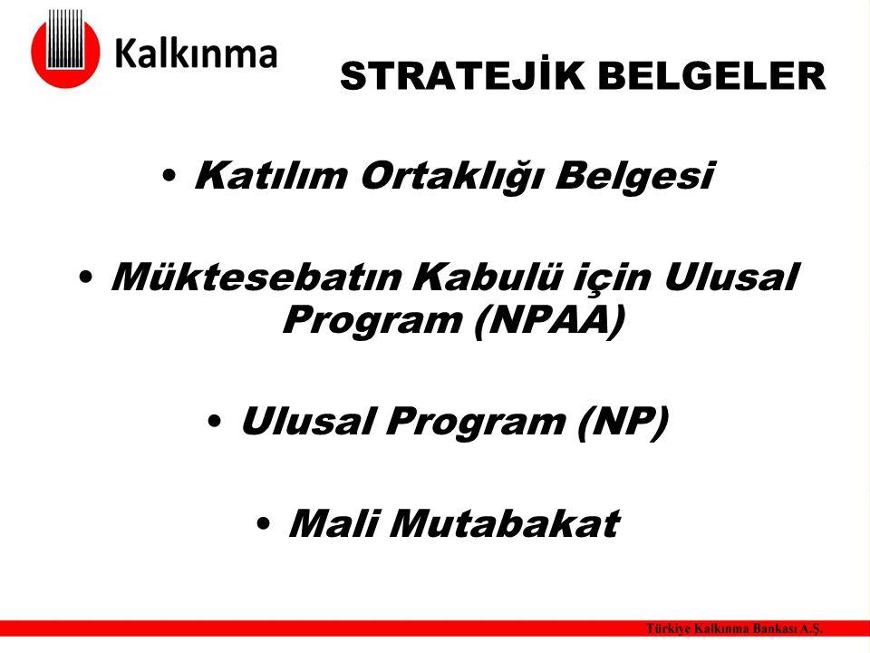 STRATEJİK BELGELER Katılım Ortaklığı Belgesi Müktesebatın Kabulü için Ulusal Program (NPAA) Ulusal Program (NP) Mali Mutabakat