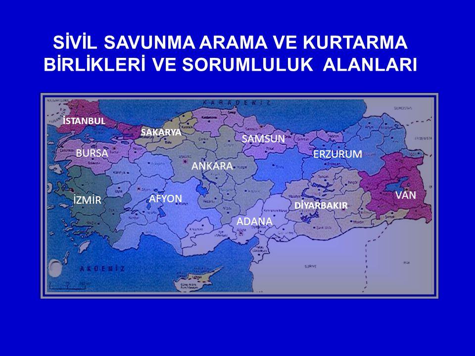 SİVİL SAVUNMANIN AFETLERDEKİ GÖREVLERİ 7126 Sayılı Sivil Savunma Kanunu, 7269 Sayılı Umumi Hayata Müessir Afetler Dolayısıyla Alınacak Tedbirlerle Yapılacak Yardımlara Dair Kanun, 2935 Sayılı Olağanüstü Hal Kanunu gereğince; MARMARA DEPREMİ ÖNCESİ : - 1986 Yılında Ankara'da, - 1993 Yılında İstanbul ve Erzurum'da Sivil Savunma Arama ve Kurtarma Birlikleri kurulmuştur.