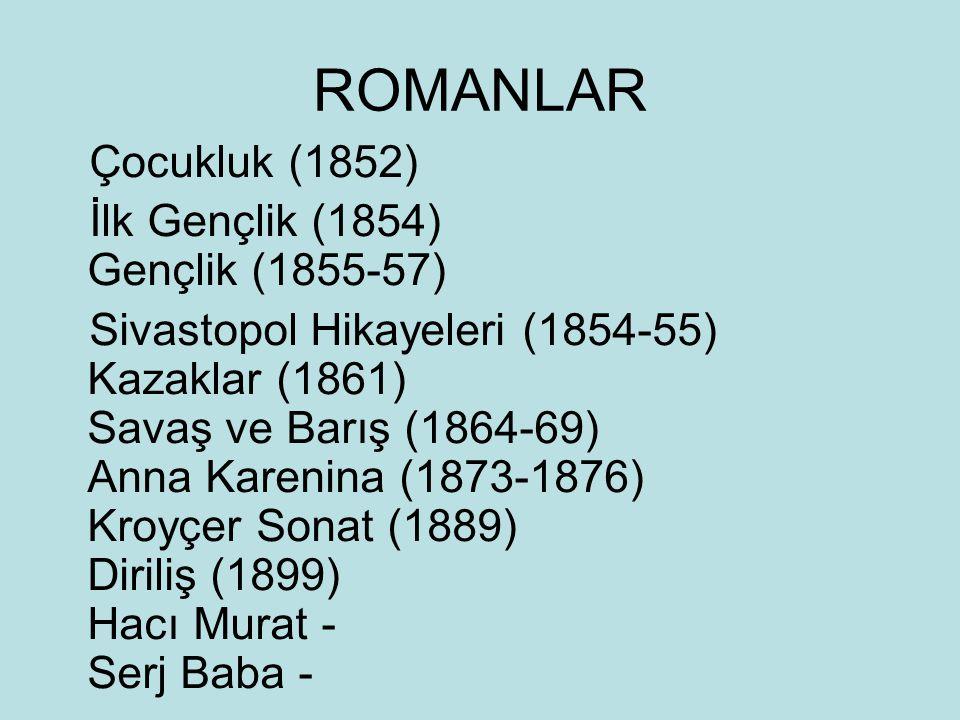 ROMANLAR Çocukluk (1852) İlk Gençlik (1854) Gençlik (1855-57) Sivastopol Hikayeleri (1854-55) Kazaklar (1861) Savaş ve Barış (1864-69) Anna Karenina (