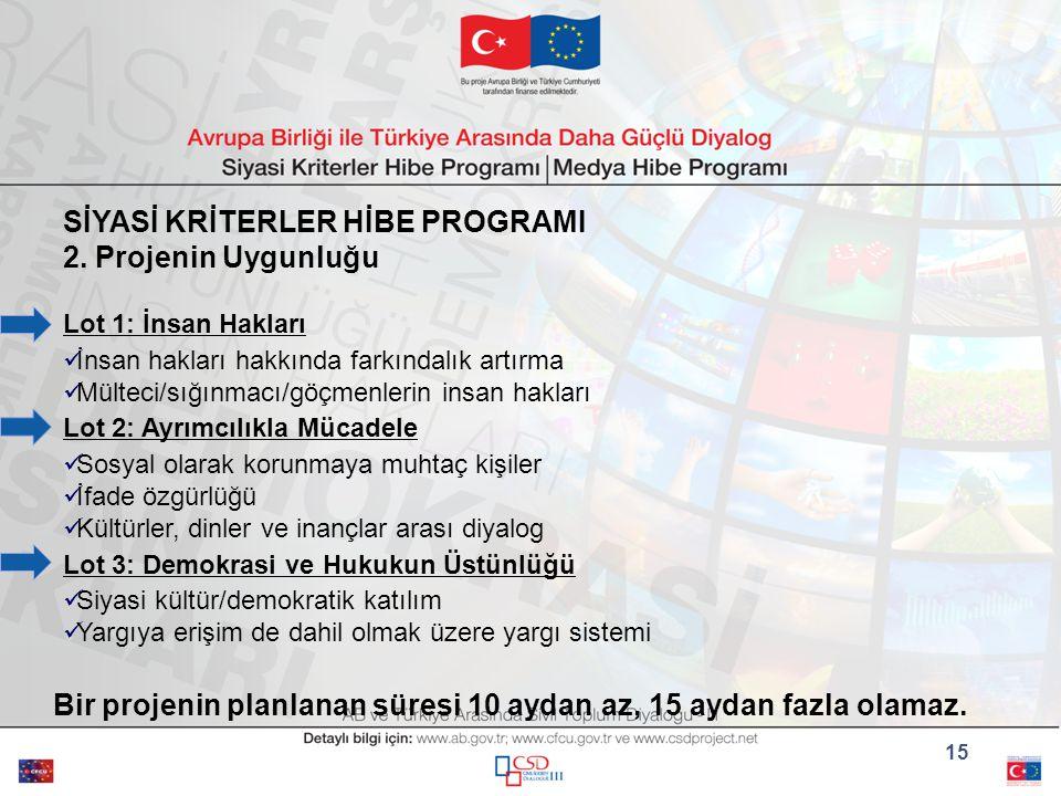 15 SİYASİ KRİTERLER HİBE PROGRAMI 2.
